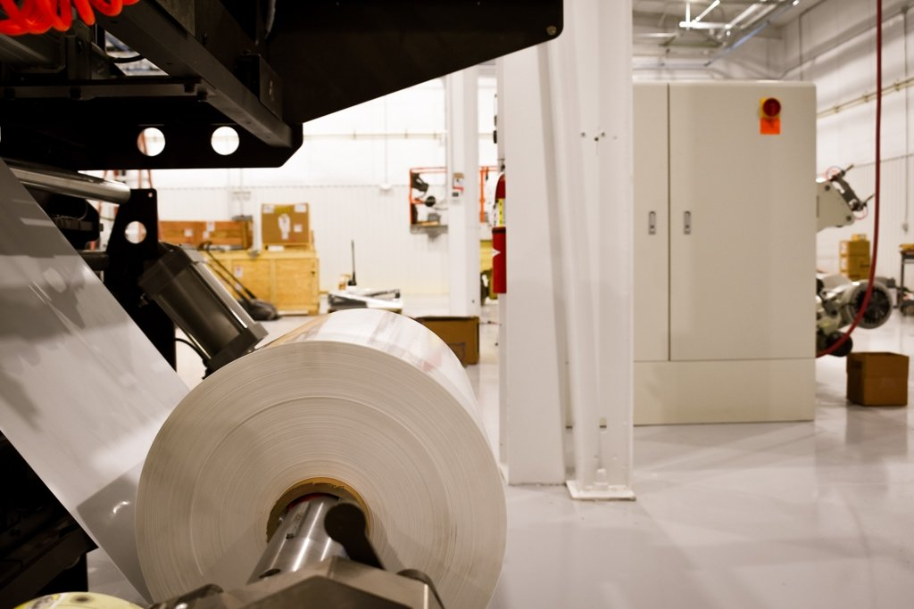 Detailed view of roll stock on machine